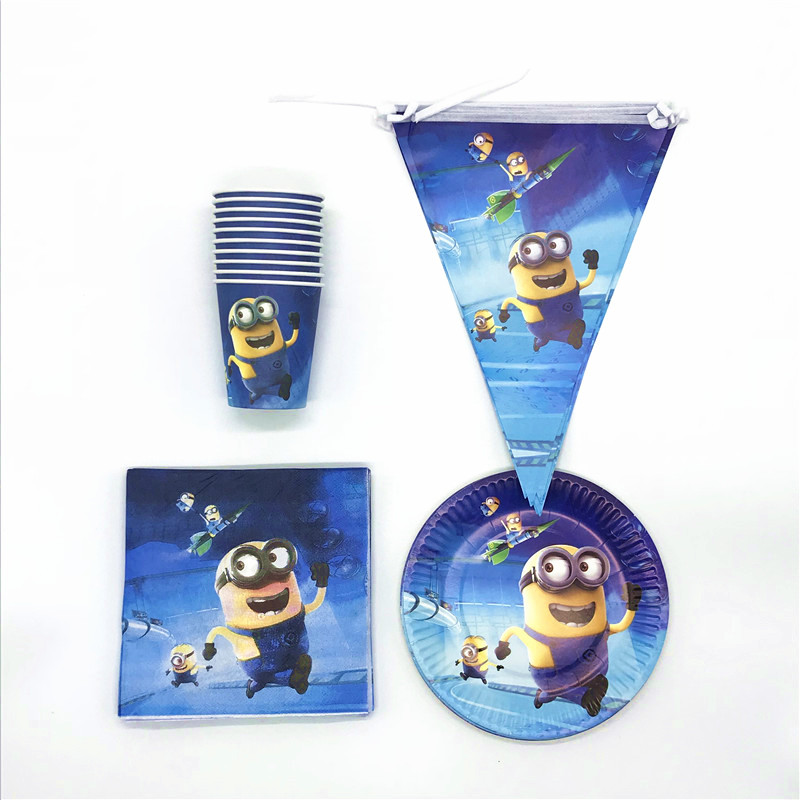 Minions 50Pcs/lot Girls Birthday Wedding Party 10Cups 10Plates 20Napkins 10Banners Christmas Minions Decoration For Home Supply