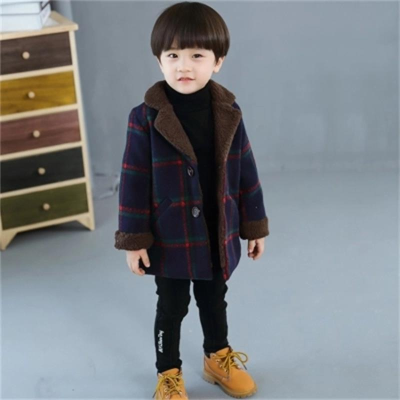 High quality New Boys Winter Coat Fashion Single-breasted Solid Navy Wine Red Kids Wool Coats Jacket Boys Children Outerwear