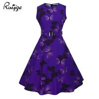 RUIYIGE 2017 Fashion Sashes Empire Print Floral Dress High Waist O Neck Knee Length Boho Robe
