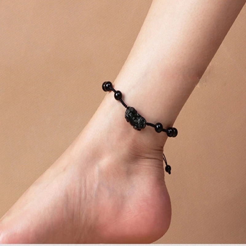 Natural Black Obsidian Ankle Chain Carved PIXIU Anklet Foot Chain Bracelet Foot Anklets Women Lover's Jade Jewelry