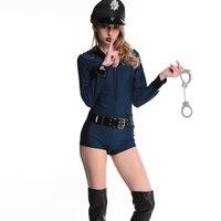 2017 neue Stilvolle Erwachsene Frauen Polizei Reißverschluss Vorne Jumpsuit Cop Kostüm Cosplay Polizist Sexy Kostüme mit Hut Gürtel Handschellen