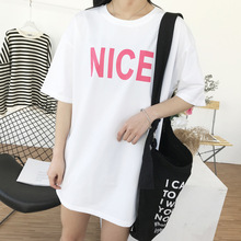 Shuchan Cotton Letter Nice Korean T Shirt Women Loose Streetwear Tee Femme Fashion T-shirts For 2019 Tops Clothes