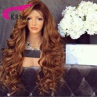 КРН 180 Плотность Glueless Синтетические волосы на кружеве парики Ombre Волосы remy отбеленные узлы предварительно сорвал бразильский натуральные в