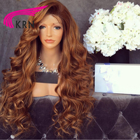 KRN 180 Density Glueless Lace Front Wigs Ombre Remy Hair Bleached Knots Pre Plucked Brazilian Human Hair Wigs Full End
