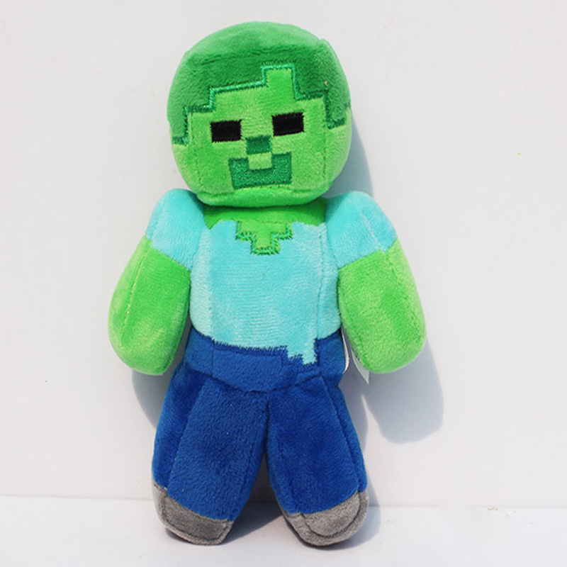 5Pcs/lot Big Size 24CM Minecraft Plush MC Zombie Steve Plush Toys Creeper Doll Soft Core Zombie plush steve cockram 5 voices