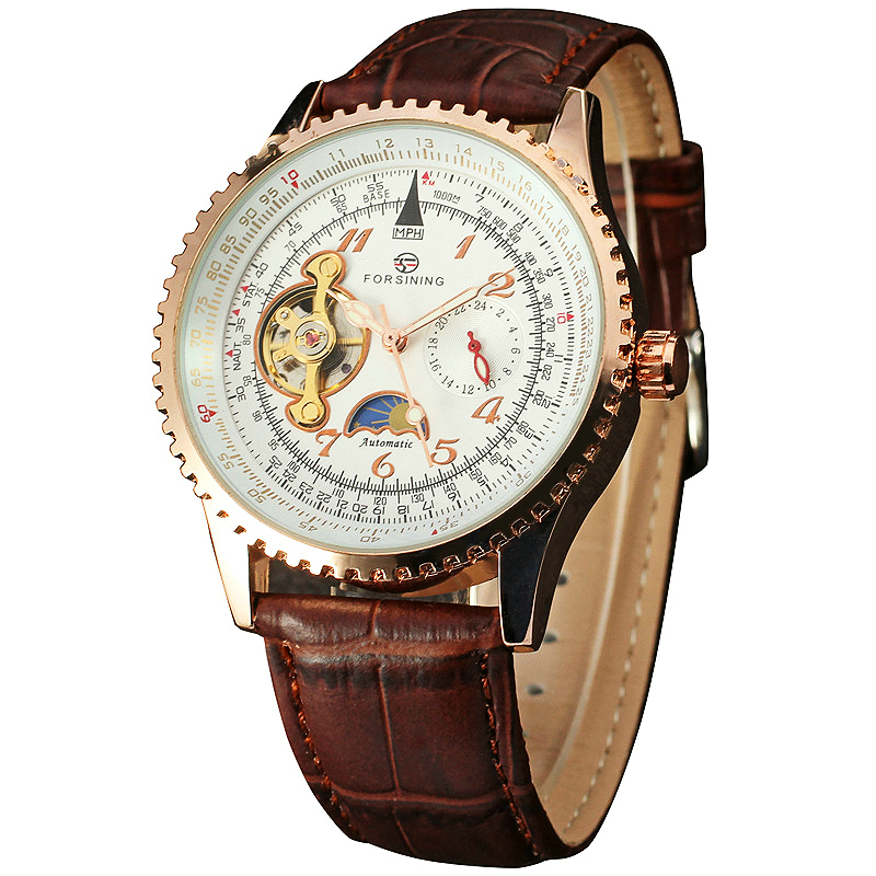 Top Luxury WINNER Men Automatic Mechanical Watch Tourbillon Man Wrist Watch Leather Strap 24-hours Hands Sub-dial Moon Sun Phase zhejang ouhai