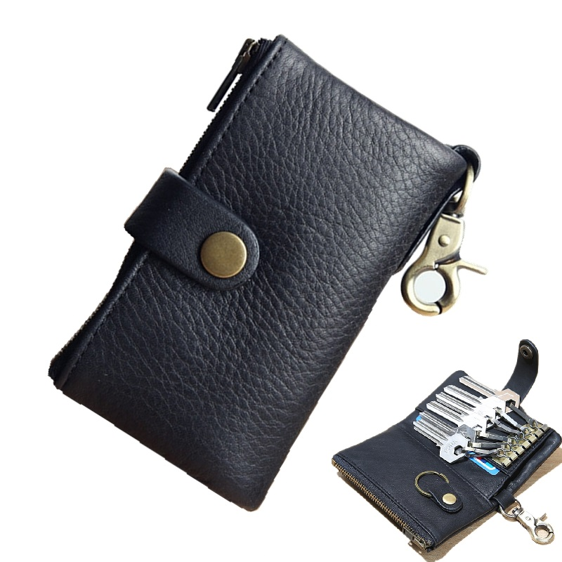 EACME Multifunction Car Key Wallet Leather Key Pack Holder Bag Cowhide Balck Card Wallets Coin Cash Purse 6 Key Chain Quality