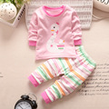 Primavera confortável Do Bebê Da Menina do Menino Roupas de manga Longa Top + calças 2 pcs Terno Esporte Roupa Do Bebê Recém-nascido Set Agasalho Infantil G-46