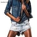 Сексуальный Разорвал Отверстие Голубой Бахромой Джинсовые Шорты Женщин Случайный Карман джинсовые Шорты 2016 Лето Горячие Девушки Короткие Boyfriend Джинсы женщины