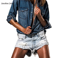 Sexy Ripped Hole Fringe Blue Denim Shorts Women Casual Pocket Jeans Shorts 2016 Summer Girl Hot Short Boyfriend Jeans For Women