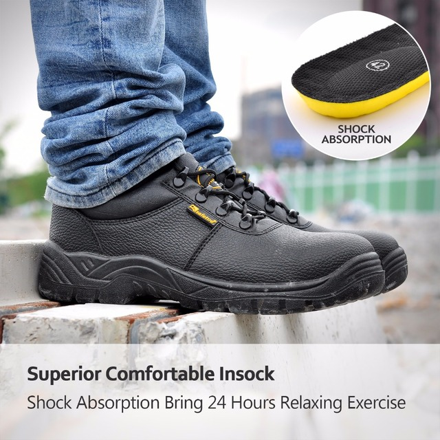 Fashion Black Men Style Work Boots Safety Shoes Extra Wide Steel Toe Anti-static  Breathable Water Resistant Cow Leather  3