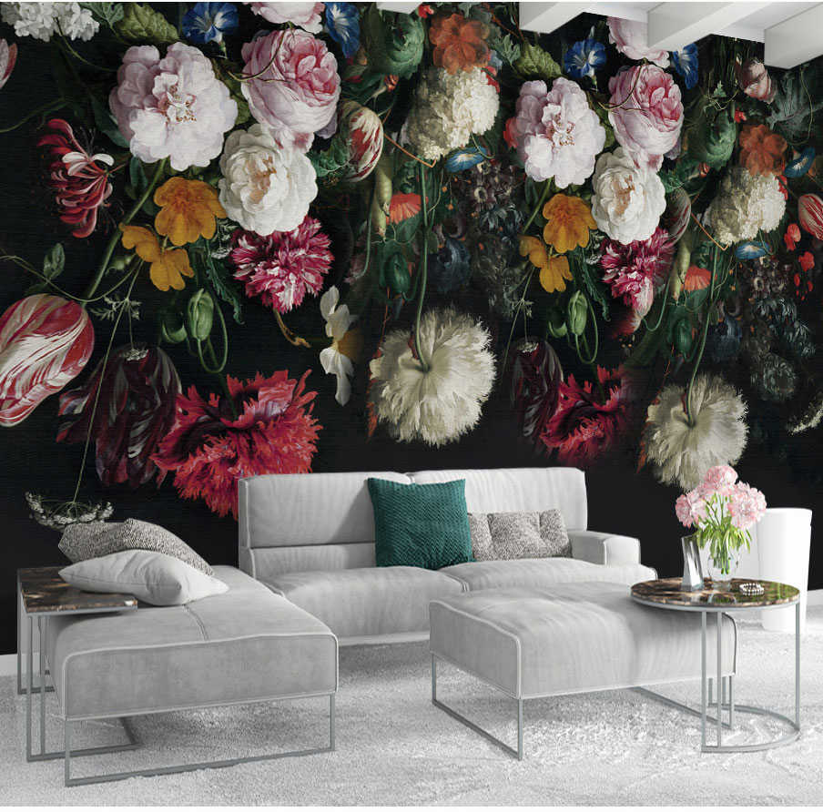 34ff087ad3221 Bacaz Black Bottom Large Papel Murals 3d Rose Flower Wallpaper for Bedroom  Sofa Background 3d Photo Murals 3d Flower Stickers