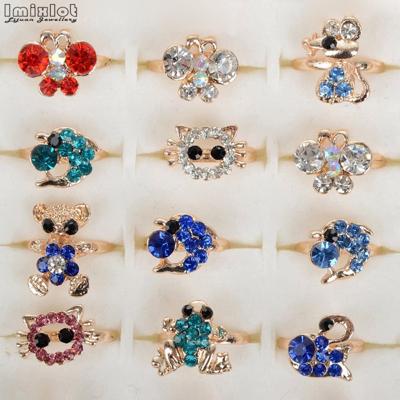 Wholesale 10pcs Mixed Assorted Flower Animal Crystal Adjustable Rings Baby Kids Girls Party Gift Fashion Rings Jewelry