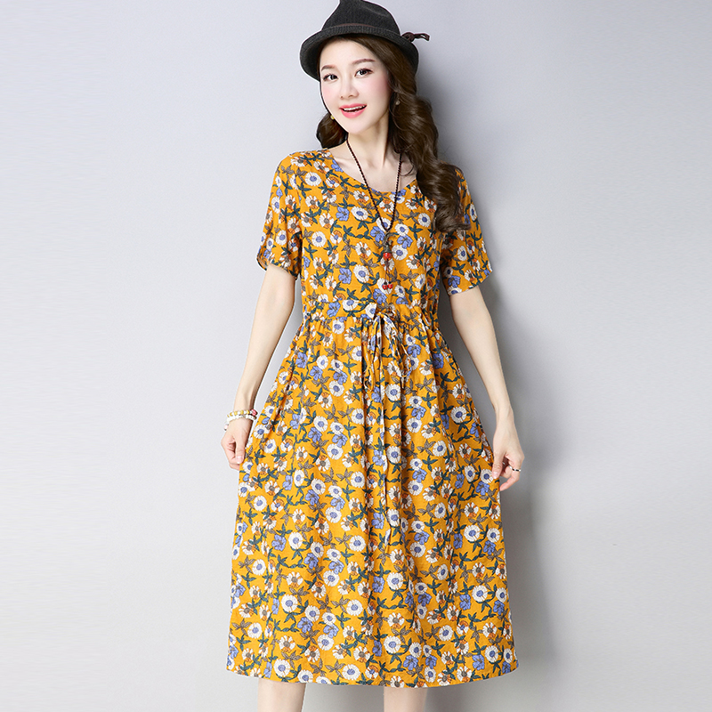 0117 Floral Printed Pleated Short Sleeve A line Dress Women Cotton And Linen 2019 Summer Dress Woman Casual Loose Dresses Femme in Dresses from Women 39 s Clothing