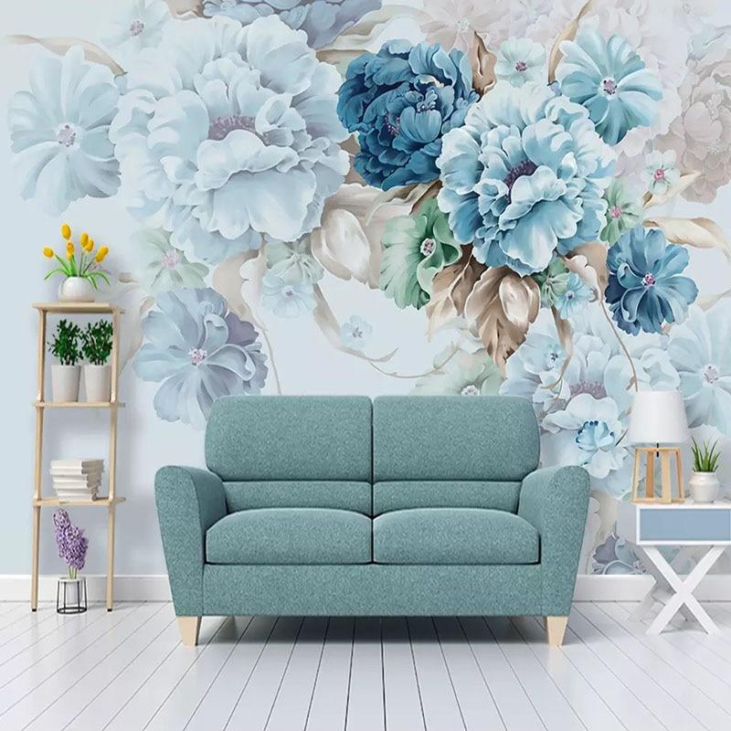 Nordic Fresh Peony Flower Retro Photo Mural 3D Wallpapers For Living Room TV Sofa Background Wall Cloth Decor Papel De Parede 3D