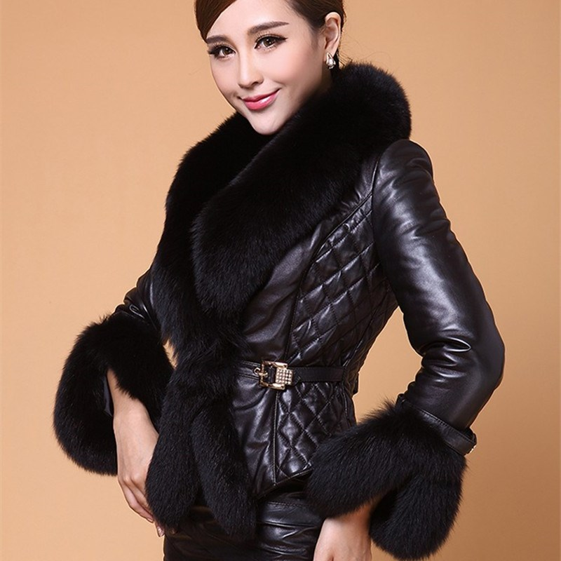 New Autumn Winter Women Faux   Leather   Jacket Turn-Down Collar Fur Collar Luxury Faux Fur Jackets Short Black   Leather   Jacket