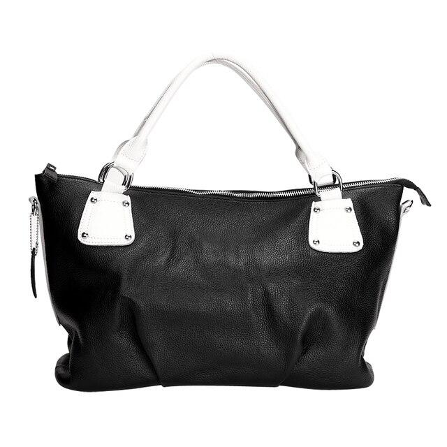 Hot-selling leather fashion genuine leather color block decoration casual rivet women's handbag one shoulder cross-body women's