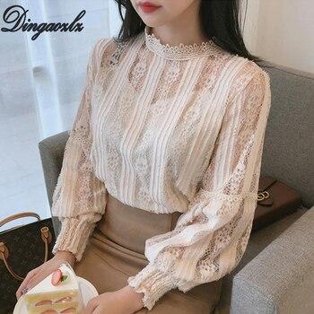 Dingaozlz blusas femininas elegante Lantern sleeve Women blouse Hollow out Lace Tops Casual Crochet Lady blouse shirt lace hollow bowknot blouse