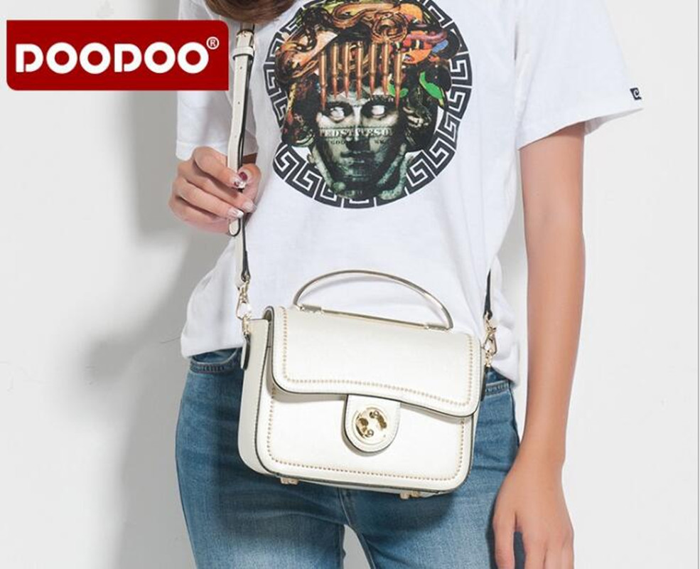 DOODOO Hot Rivet Small Flap Women Messenger Bags Designer Brand Ladies Clutch Hand Bags High Quality PU Leather D057 genuine leather women messenger bags rivet small flap shoulder bag crossbody bags designer brand ladies female clutch hand bags