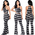 Women Ladies Clubwear Striped Playsuit Bodycon Party Jumpsuit Romper Trousers