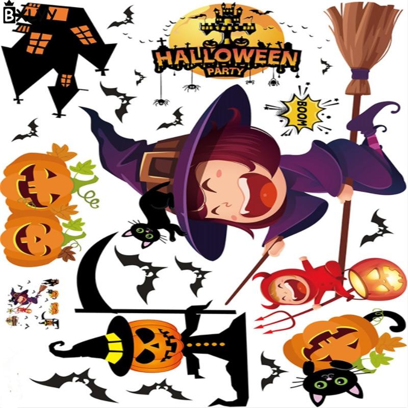BXLYY 2018 Halloween Home Decoration Pumpkin Bat 3D Wall Sticker Window Glass Sticker Christmas Decor New Year Party Supplies.8z