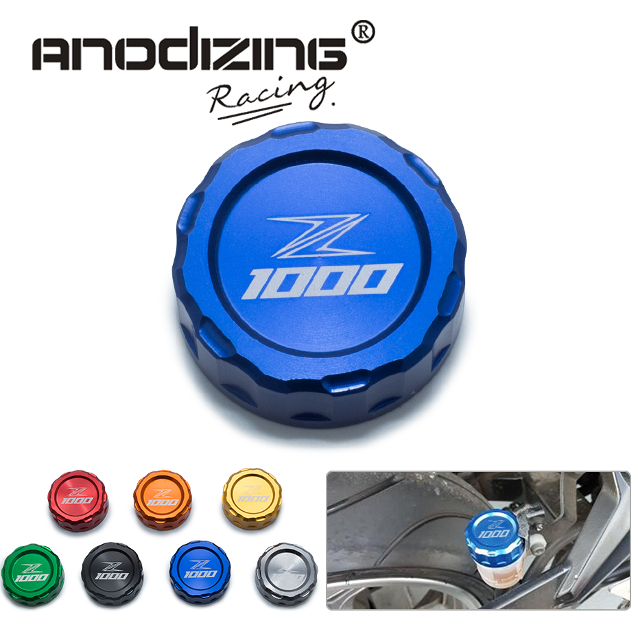 Motorcycle CNC Aluminum Rear Brake Fluid Reservoir Cover Cap For Kawasaki Z1000 Z 1000 2010-2014 with z1000 logo fx cnc motorcycle aluminum rear oil reservoir cap cover brake fluid oil cover fit for ktm rc8 1190 2008 2010 2009
