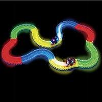 240 pcs Diecast Poder-driven Crianças Rail Track Car DIY Montar Kits para Meninos Luminosas Ferroviário Carro de Brinquedo Pista Pista Roller Coaster carro