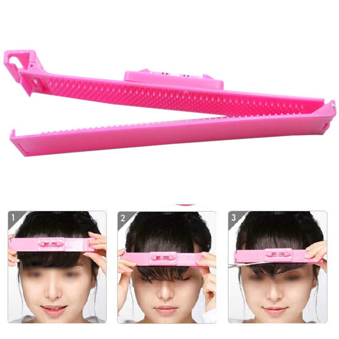 Alın saç düzeltici saçak kesme aracı saç ayarlamak seviye cetvel saç kesme aksesuarları DIY kırpma patlama aracı için kız/ kadın