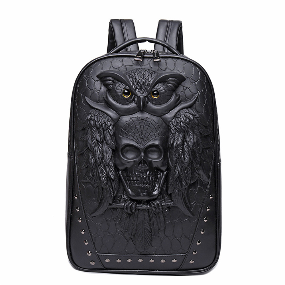 The Owl and Skull Head Backpack Such Cool Daypack PU