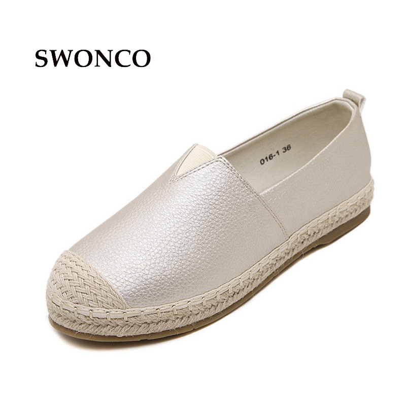 SWONCO Women's Flats Shoes Casual Fisherman Female Shoes Women Shoe Leather Flat 2018 Spring Summer Slip On Woman Loafer new spring woman crack college pregnancy slip on shoes flat female ladie casual single shoes ballerines femme chaussures soulier