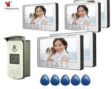 Yobang Security 7 Inches HD Doorbell Camera Video Intercom Door Phone System Security Camera Intercom Door Bell With 5 Monitor