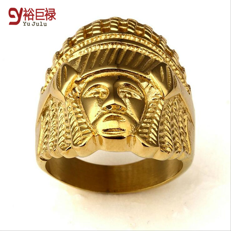 hiphop gold rings for men indian chief head cool ring bague femme ...