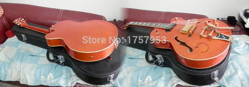Factory custom shop Newest Gretsch Falcon 6120 Semi Hollow Jazz Orange Red Electric Guitar with Bigsby with case  2  7 free shipping gretsch 6120 hollow body orange stain electric guitar in stock
