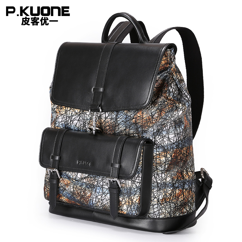 P.KUONE Brand Luxury Colorful Genuine Leather Backpack Men Soft Bag Teenage Back Pack Travel Rucksack School Backpack sac a dos women genuine leather backpack luxury soft solid large capacity school bag ladies travel backpacks sac a dos mochila 2017 new