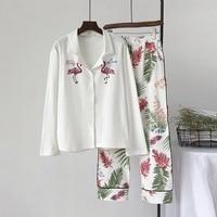 New Women Pajamas Sets 100% Cotton Nightwear Spring Autumn Long Sleeve Pyjamas Turn down Collar Sleepwear Female Pijamas