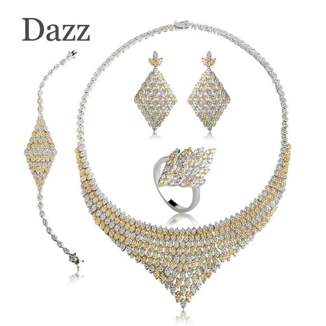 Dazz Fashion Two Tones Colors Square Shape Choker Necklace Earring Ring Bracelet Sets Full Zircon Jewelry For Women Wedding Gift