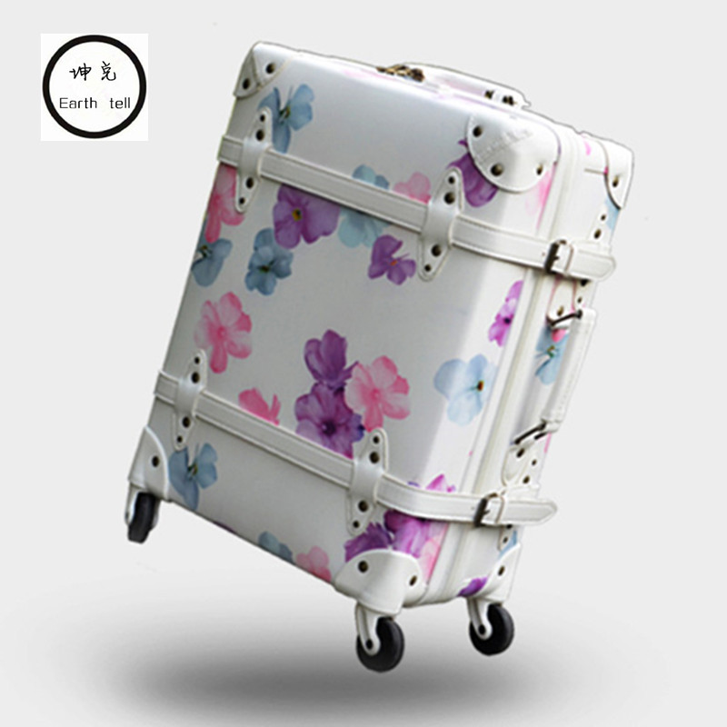 Vintage Luggage,Cherry Retro Travel Suitcase,High quality PU Printing bag,Spinner Rolling Trolley Carry-Ons Bags,Roller Rod Box top quality trolley luggage bags storage box suitcase bag men travel large capacity pc pull rod trunk women waterproof rolling