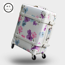 Vintage Luggage,Cherry Retro Travel Suitcase,High quality PU Printing bag,Spinner Rolling Trolley Carry-Ons Bags,Roller Rod Box