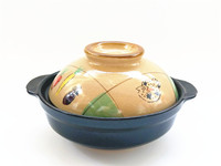 Japanese Hand Painted Fish Puffer Single Lithium Porcelain Small Clay Earthen Pot Cooking Flat Bottom Casserole
