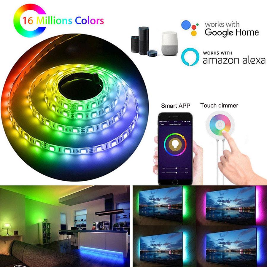 2-5 M 5050 RGB wifi LED bande lumière intelligente Flexible bande lampe APP Google accueil Alexa contrôle sans fil RGB bande lumières AC110-240V