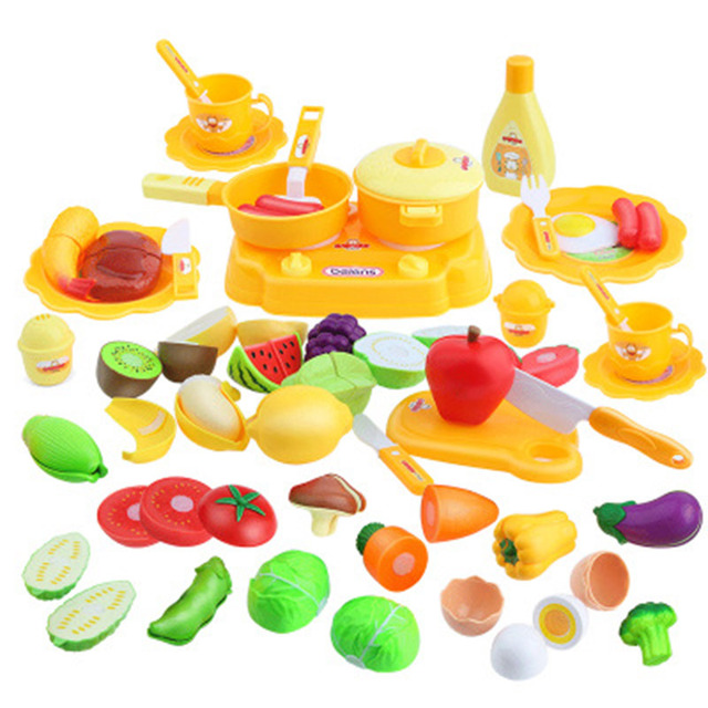 US $35 59 |pretend play food game kit kat frying pan toys for children for  girl kitchen vegetable cutting educational toy squishy pots -in Kitchen
