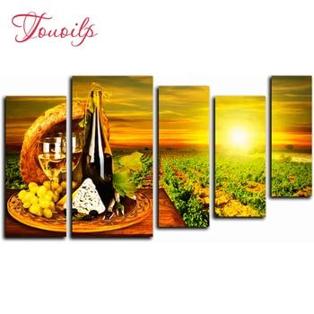 5pcs,Full,square&round Sunset wine Diamond Embroidery,5d Diamond Painting,Cross Stitch,3D,Diamond Mosaic,diamond pattern,Crafts