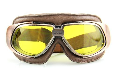 700ff7bc5d60 Retro Bronzed Pilot Cruiser Motorcycle Bike Tactical Aviator Goggles Yellow  Lens Brown Copper Frame Black Strap T10
