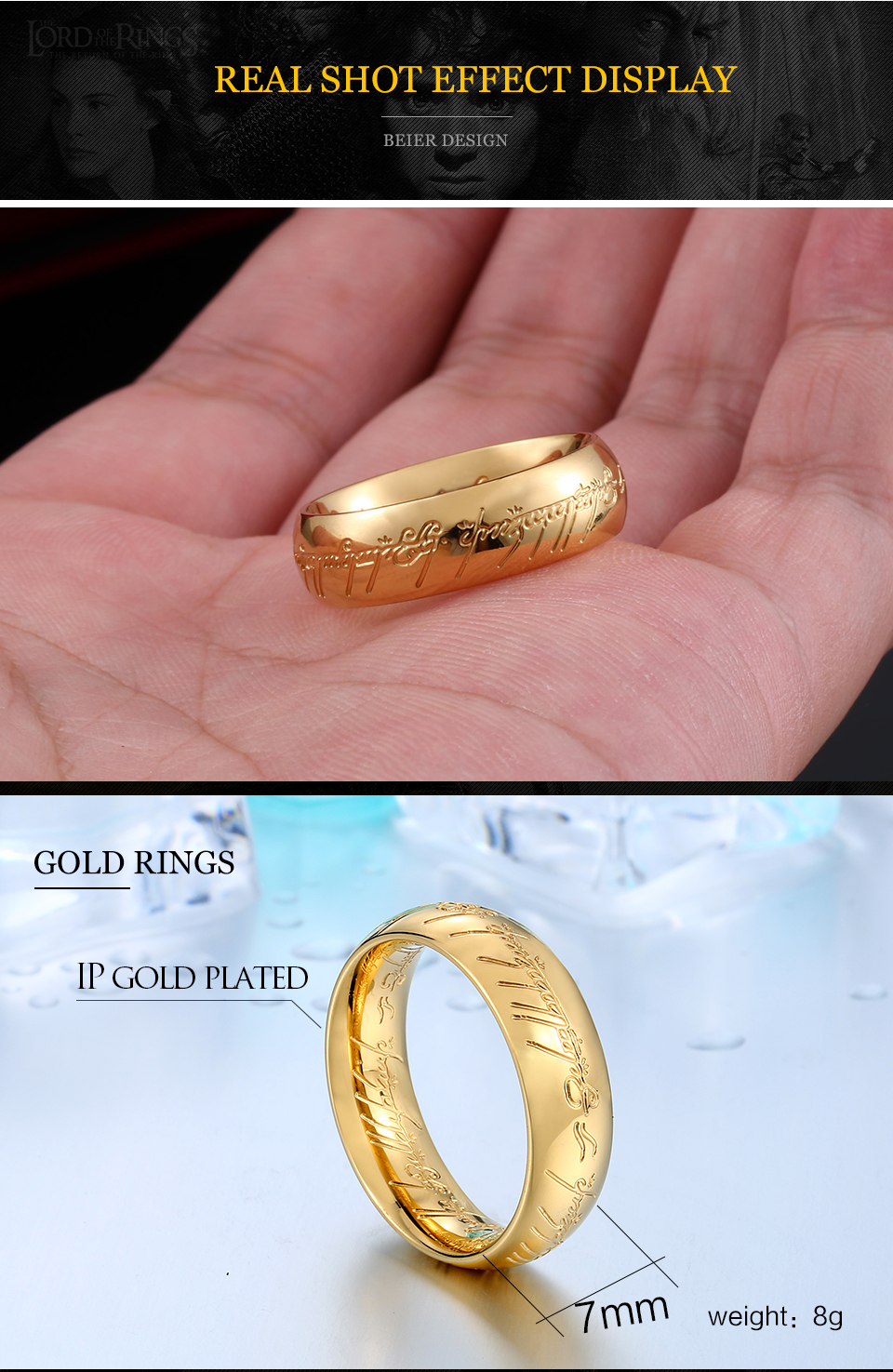 2018 high quality Stainless Steel One Ring of Hobbit the Lord of One ...
