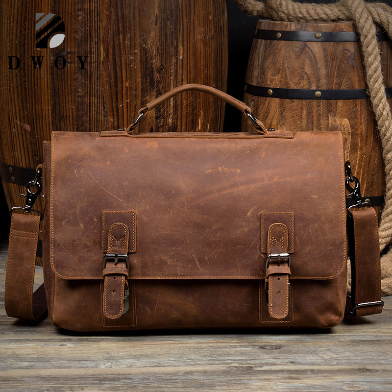 Vintage Cowhide Genuine Leather Crossbody Bag For Men Shoulder Bags Business Men's Briefcase Handbags Messenger Bag