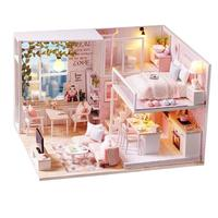 CUTEROOM Doll House Miniature DIY Dollhouse with Furniture Wooden House Waiting Time Toys for Children Kids Girls Birthday Gift