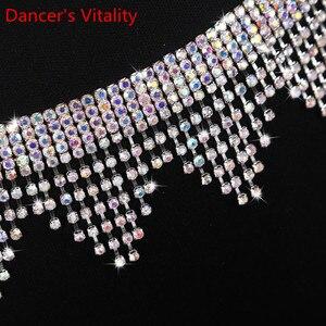 Image 4 - New Belly Dance Costume Jewelry Crystal Rhinestone Belly Dance Belt Wave fringe Waist Chain