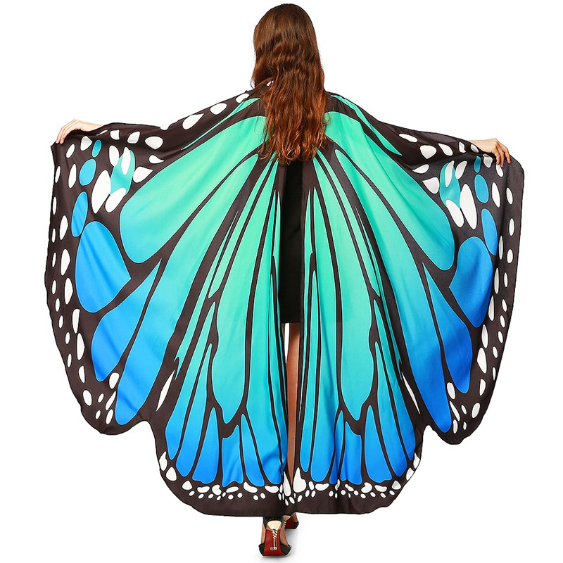 New Design Women Blue Beach Long Butterfly Wing Cape Soft   Scarf     Scarves     Wrap   Shawl Nymph Costume Butterfly Wings Shawl