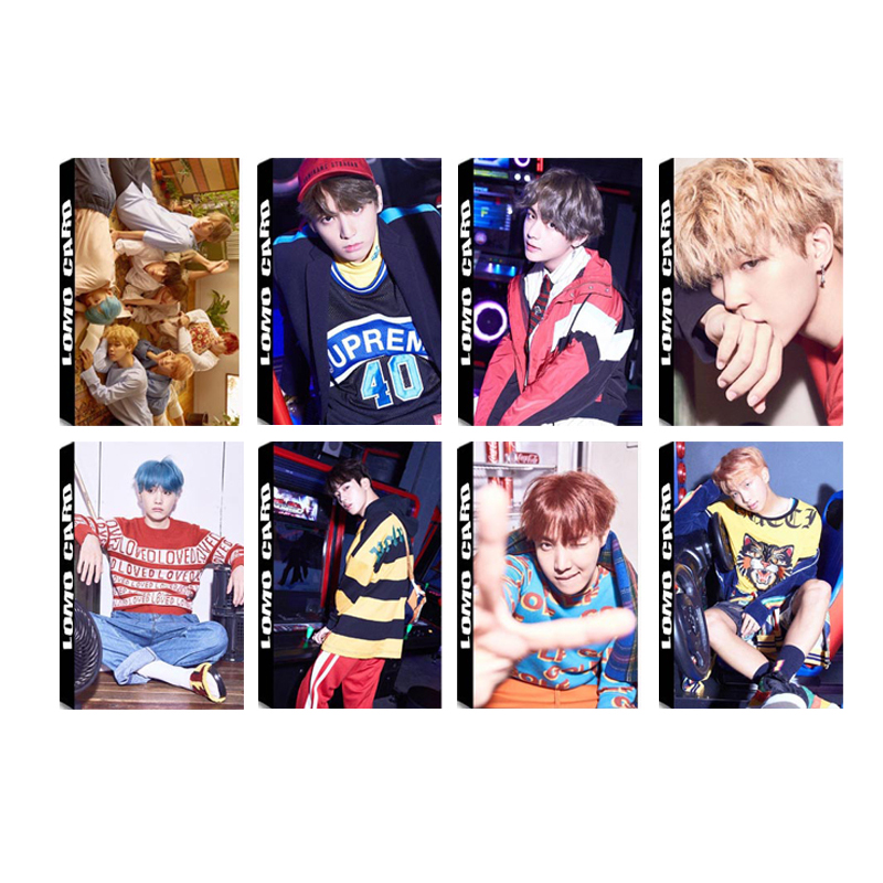 все цены на Youpop KPOP BTS Bangtan Boys ARMY LOVE YOURSELF Album LOMO Cards K-POP New Fashion Self Made Paper Photo Card HD Photocard LK512