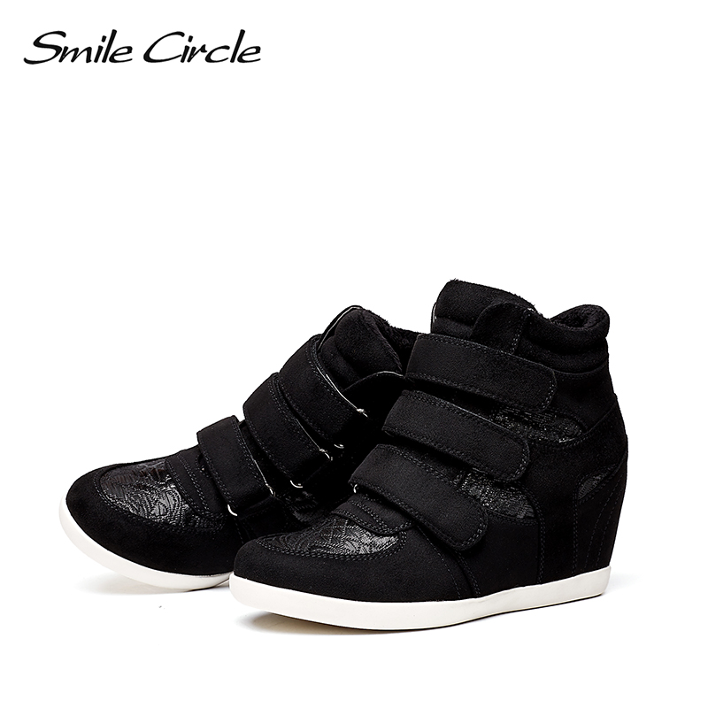 42dfccea2ec9 Smile Circle 2018 Spring Wedges Sneakers Women Fashion High top Platform  Shoes High heels Casual Shoes C717B09-in Women s Vulcanize Shoes from Shoes  on ...